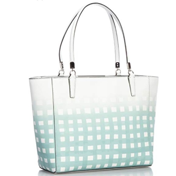 Coach Handbags - Coach Madison Gingham Leather tote blue purse bag